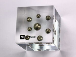 Details about Nickel - Acrylic Element cube 50x50x50mm Element block -  Museum grade