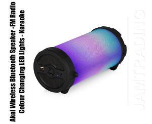 AKAI Haut-parleur bluetooth sans fil-radio FM-Couleur Changeante DEL Lumières-Karaoke