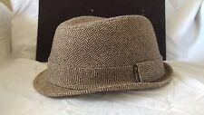 New - Ben Sherman Wool Blend Fedora Hat Trimmed Brim Men's S/M Tan & Brown