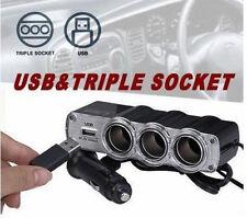 Sdoppiatore per auto,camion,camper.12V - 24V. 3 prese + USB.Presa accendisigari!