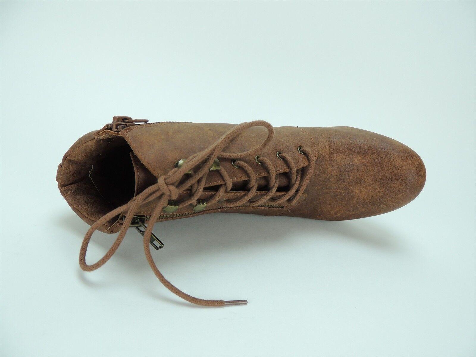 Material Girl Women's Rheta Lace-Up Platform Boots - Booties Cognac Size 10.5 M