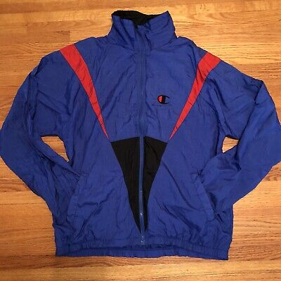 new images of detailed images superior materials Vintage Champion Mens Windbreaker Jacket Colorblock Size L Red Blue Full  Zip Up | eBay