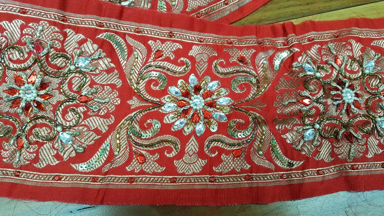Indian pure benarasi silk red saree border wide 12cm embroidery 6m zari patola