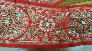 Saree Patola Red Pure Border Zari 6m Ricamo Indiano Benarasi 12cm Largo Silk tq7wdPBI