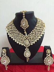 Details zu Indisch Hochzeit Vergoldet Modeschmuck Bollywood Halskette Ohrring Schmuck Set
