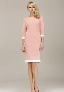 2f6d928ee2 Robe droite ajustée élégante femme rose manches 3/4 midi ALORE AL03 ...