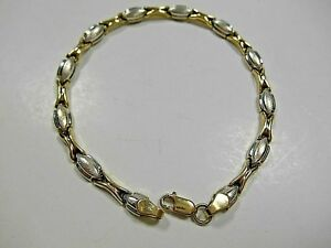 Unique-Heavy-Yellow-amp-White-Gold-Stampato-Link-Bracelet-7-25-034-5g-Beautiful