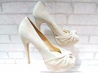 CLEARANCE Ladies ALDO VOPAVA Nude Suede Platform Peep Toe Shoes UK 8 EU 41