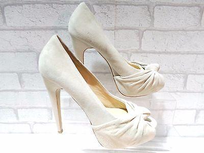 El aclaramiento Damas Aldo vopava Nude Plataforma Punta Abierta Zapatos De Gamuza UK 8 EU 41