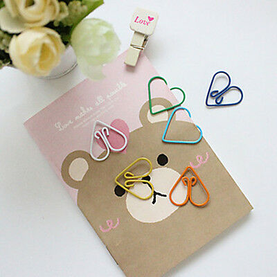 10Pcs Cartoon Wrapped Heart Paper Clips Stationary Office Supplies Random Color