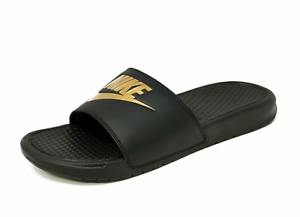 more photos 7419f 948cf Details about Nike Benassi JDI Slide Black Metallic Gold 343880-016 Size  8-13 Slippers Sandles