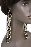 Women Earrings Set Gold Metal Hook Fashion Jewelry Extra Long Double Chain Links