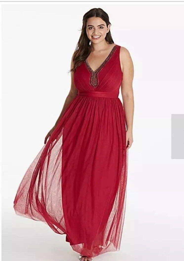 Little Mistress Cherry Embellished Maxi  Dress    Plus Size 20 a4fa0d