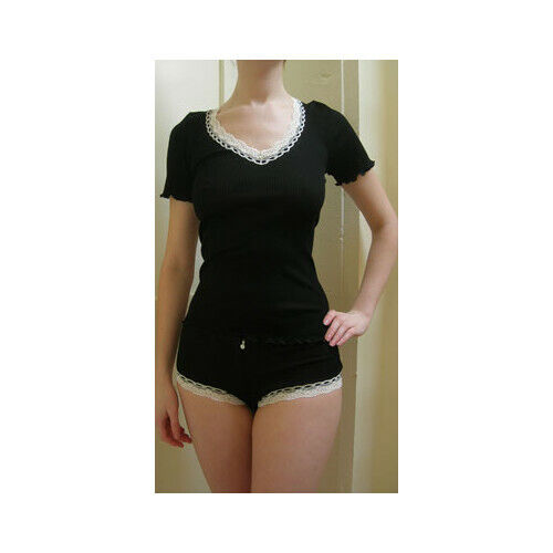 """Mey Black Ribbed /""""Mood/"""" Shorts With White Lace Detail 100/% Cotton"""