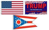 3x5 Trump 2016 & Usa American & State Of Ohio Wholesale Set Flag 3'x5'