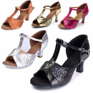 New-Women-039-s-ladies-Ballroom-Latin-Tango-Dance-Shoes-Mid-High-Heel-Shoes-Size