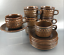 Set-Of-4-Wedgwood-Mid-Century-Stoneware-Cups-and-Saucers-Brown-Pennine-England thumbnail 3
