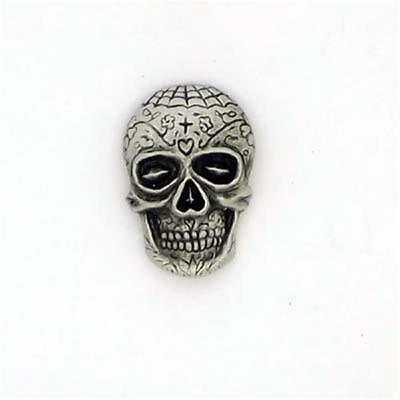 SUGAR SKULL LAPEL PIN BADGE DAY OF THE DEAD MEXICO HORROR ENGLISH PEWTER