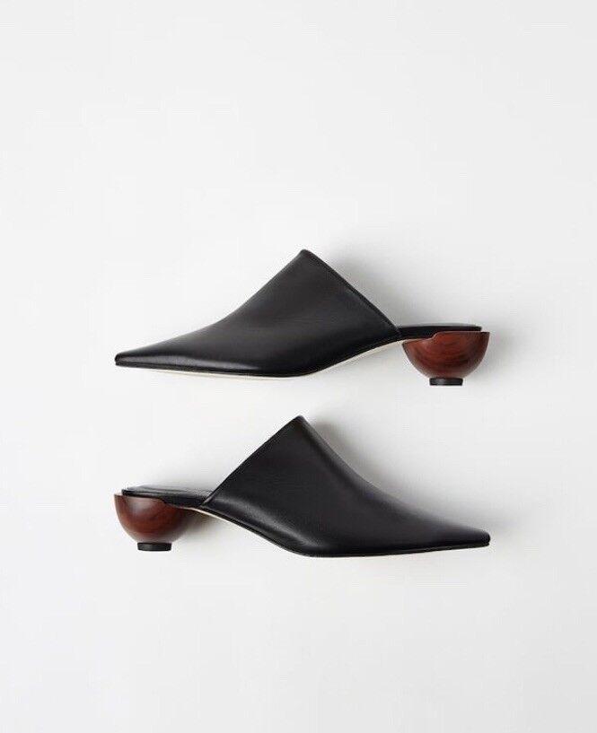 presa Zara Zara Zara Nero arrotondato in legno tacco Pantofole Scarpe aperte sul tallone UK5 EU38 US7.5  nuovi prodotti novità