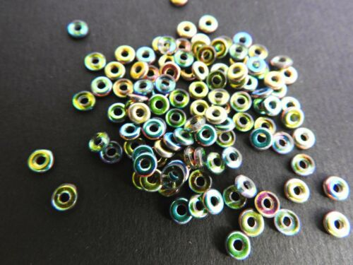 CZECH GLASS Ring Spacer O Perles 4 mm Diverses Couleurs Paquet 5 g