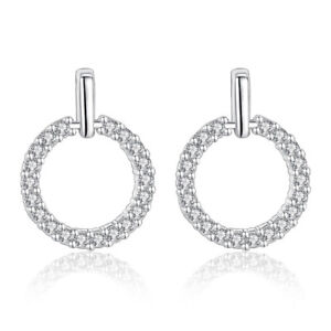 925-Sterling-Silver-Earrings-Stud-Crystal-Round-Style-Women-Jewelry