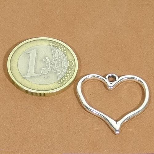 34 Colgantes 23mm T265C Corazones Plata Tibetana Pelle Argento Charms Heart