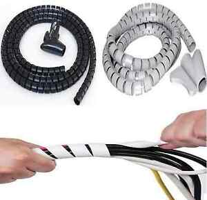 2M-White-or-Black-Cable-Tidy-Wire-Organizing-Kit-Spiral-Wrap-PC-TV-HOME-OFFICE