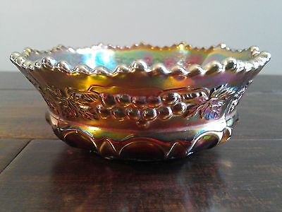 "Northwood Grape Cable Thumbprint Green Carnival Glass 5"" Small Berry Candy Bowl"