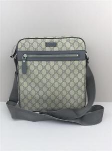 e2cb80590331 New Gucci GG Supreme shoulder cross body bag Grey Ivory 201448 | eBay