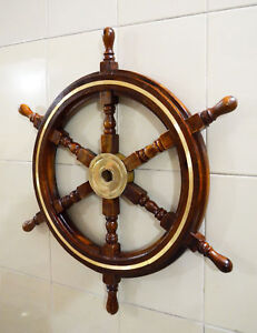 Image Is Loading Wooden Decorative Br Ring Hanging Pirate Ship Wheel