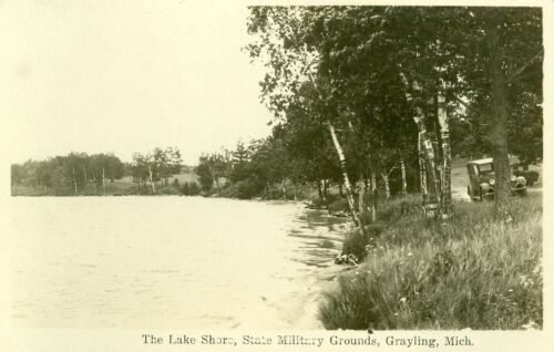 Grayling,MI. The Lake Shore on the State Military Grounds RPPC