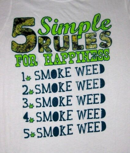 """Spencer/'s /""""5 Simple Rules for Happiness SMOKE WEED/""""  Funny Juniors T-Shirt"""
