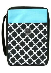 Bible-Cover-Cross-Geo-Pattern-Black-White-amp-Turquoise-X-Large