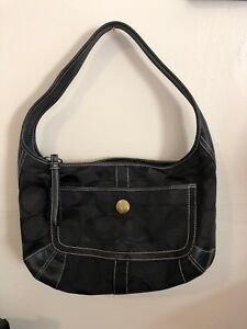 88d6bab207 Image is loading COACH-Signature-Black-Canvas-amp-Leather-Shoulder-Bag-