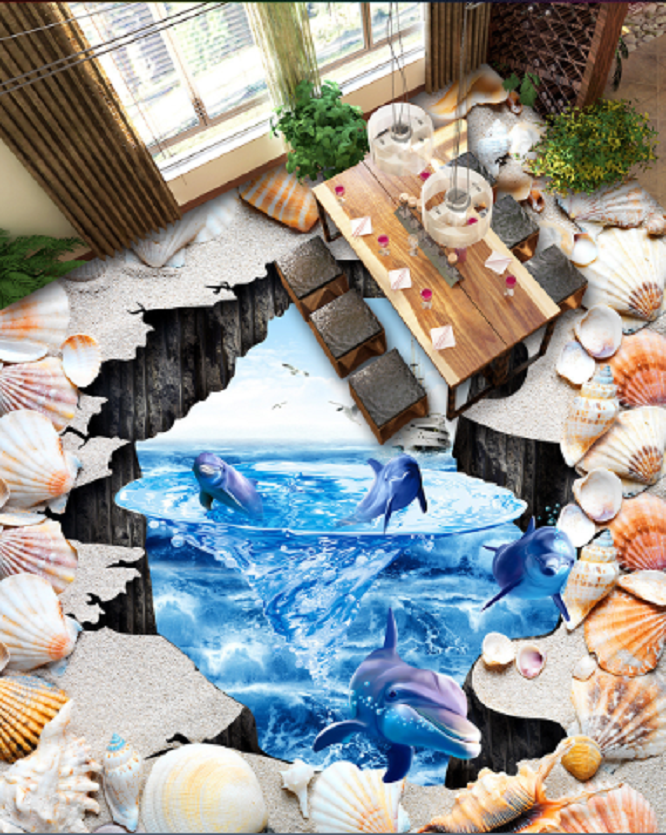 3D Dolphin Boat Shell 4 Floor WallPaper Murals Wall Print Decal AJ WALLPAPER US