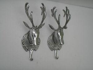 Metal-wall-mount-stag-head-coat-hook-set-of-2-pieces-deer-head-11-inches-au
