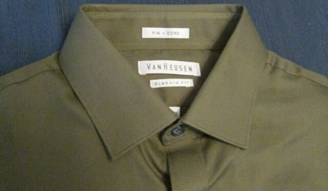 Van Heusen Classic Fit Men's Shirt NWT, Pin Cord Weave, Olive color, 15 32/33