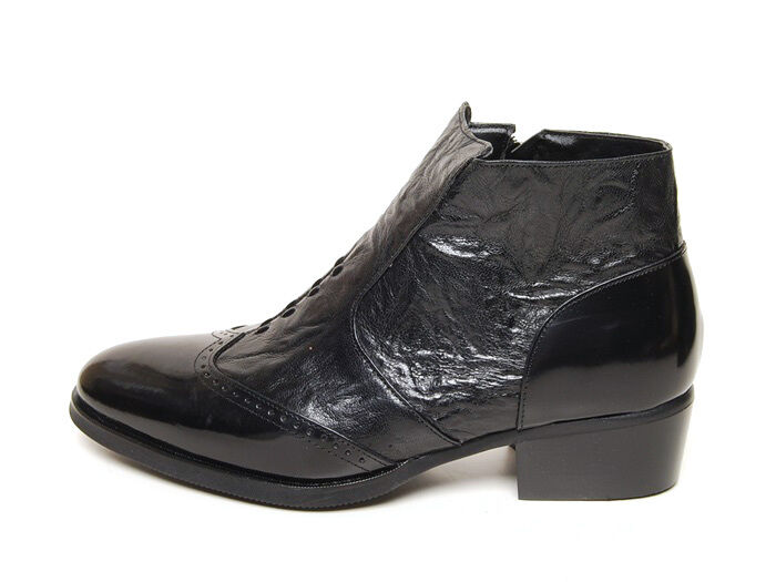 Men's black leather wing tips brogue wrinkle side zip high heels ankle boots