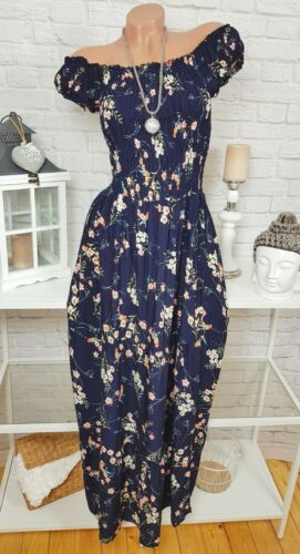 MAXI KLEID Blumen Carmen Strandkleid Floral geblümt Blau SOMMER 36 38