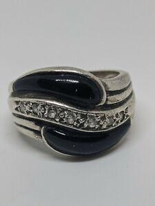 Vintage Sterling Silver Black Oynx Ring Size 7