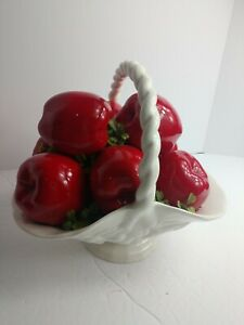 Mid-Century-Modern-Red-Glass-Apples-In-A-Ceramic-White-Basket