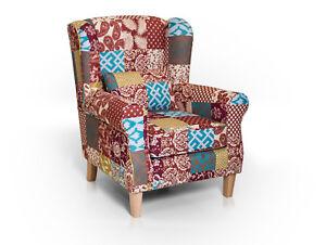 Details zu Ohrensessel 1-Sitzer Stoff Polstersessel Wohnzimmer Sessel WILLY  Patchwork Bunt