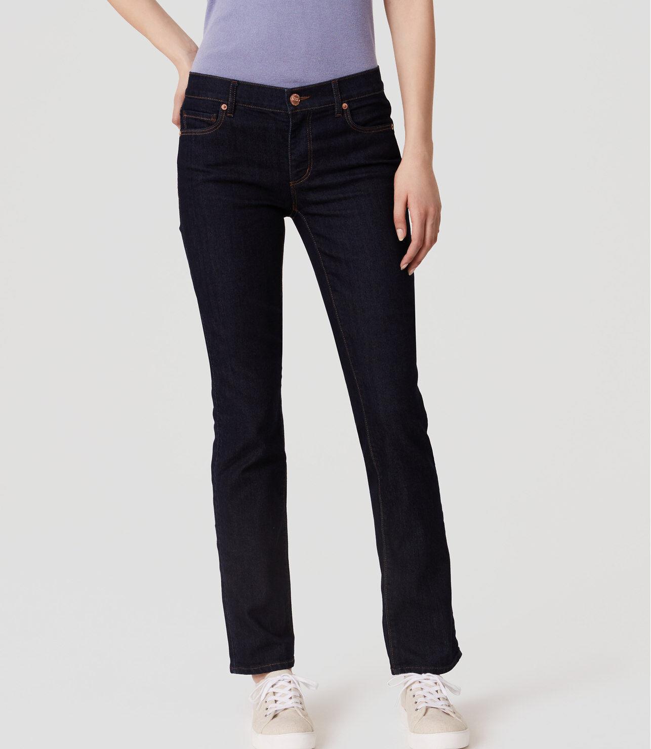 Ann Taylor LOFT Curvy Straight Leg Jeans Pants in Dark Rinse Wash 28 6 Petite