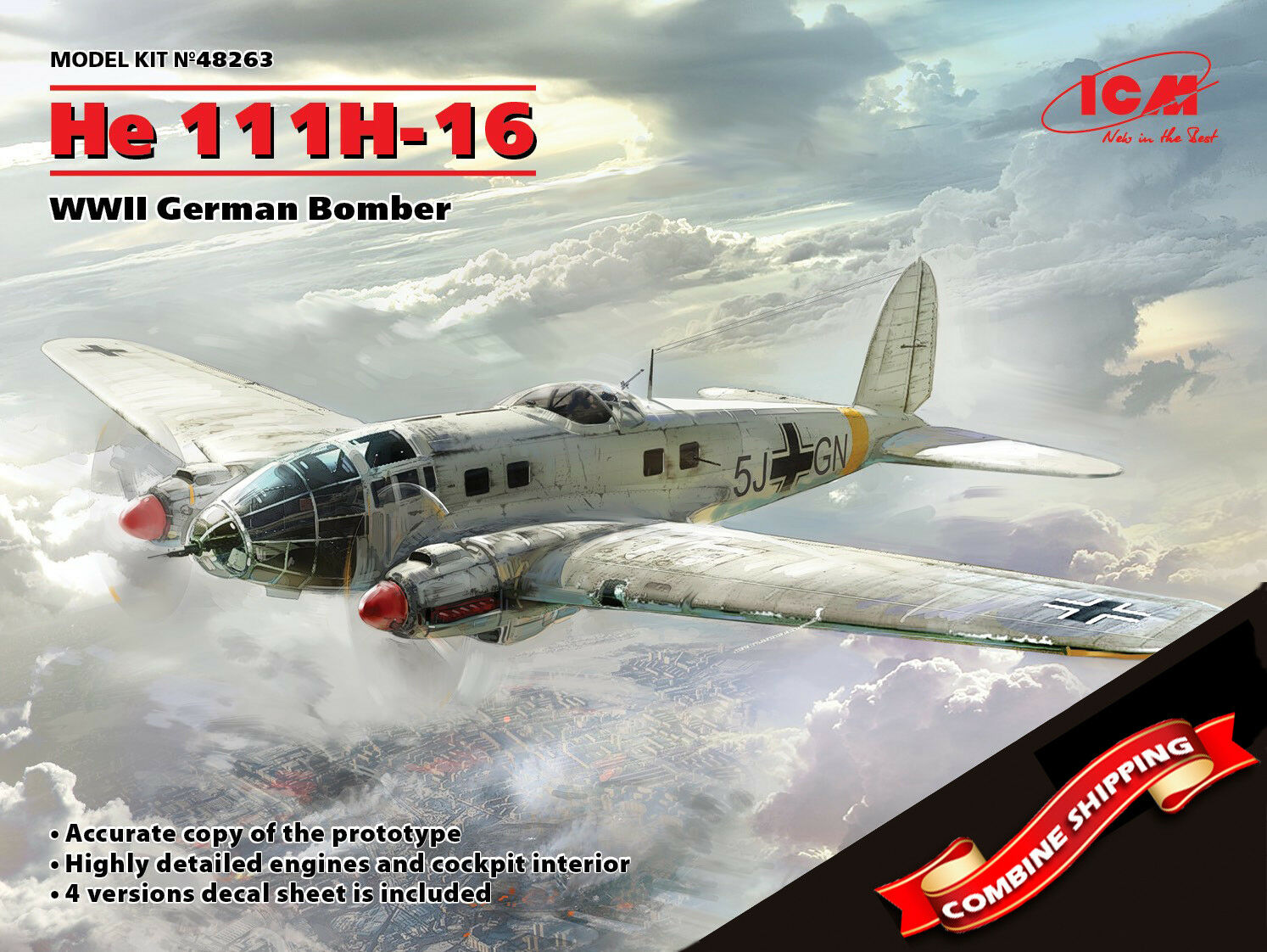 ICM 48263 Heinkel He 111H-16, WWII German Bomber, scale plastic model kit 1 48