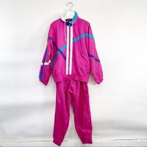 Vintage-90-039-s-Windbreaker-2-Piece-Set-Pink-Retro-1990s-Trainer-Teal-Stripe-Track
