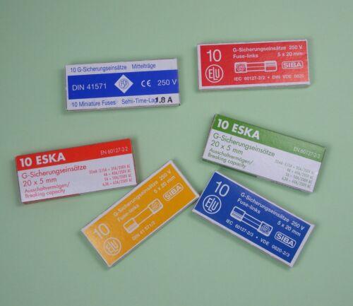 10 Stück Feinsicherung 5x20mm Flink Glassicherungen ESKA