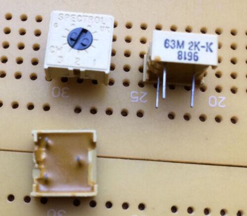 2k Ohm 0.5W Lin 1-Turn Cermet Trimmer horizontal Top Adj Spectrol 63M Multi Qty