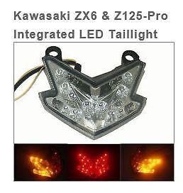 Kawasaki Zx6 Z125 Pro Integrated Led Taillight Chrome Glow