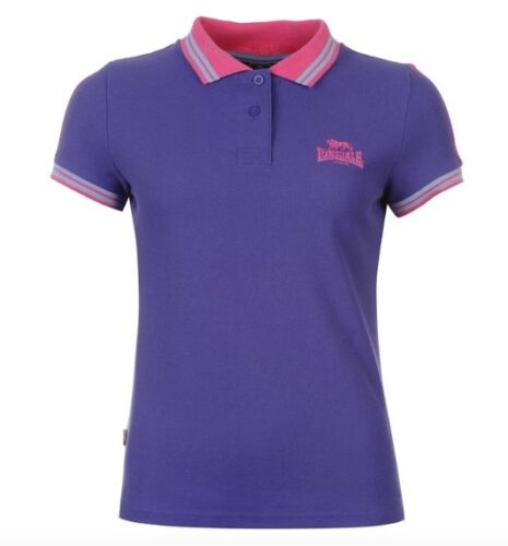 Lonsdale London Femmes Polo Shirt Violet Bleu Rose Toutes Tailles Neuf Avec Étiquette