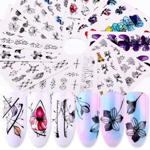 14-Sheets-Nagel-Wasser-Abziehbilder-Transfer-Flower-Floral-Nail-Art-Stickers